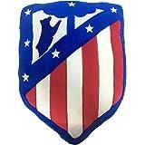 Atlético de Madrid. Cojín Terciopelo con Forma de Escudo y Licencia Oficial del Club.