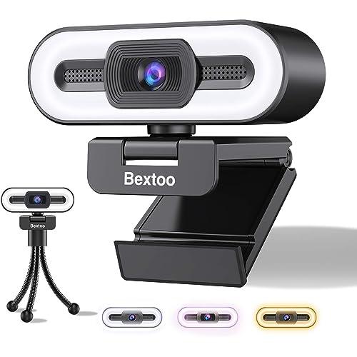 Bextoo Webcam 1080P, Webcam per PC con Luce ad Anello a 3 Colori e Microfono Stereo, per Streaming, Autofocus, Plug and Play, Adatta per Riunioni, Corsi Online, Videochiamate e Giochi