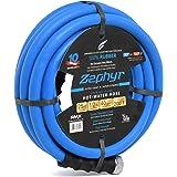 """Zephyr Next-Gen Garden Hose (1/2"""" x 25ft, Ultra-Light Flexible Rubber, Brass Fittings), Blue"""