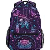 Ahomy Schulrucksack Büchertasche für Teenager Mädchen Jungen Traumfänger mit Federn und Mond Tribal Stil Reiserucksack Satche