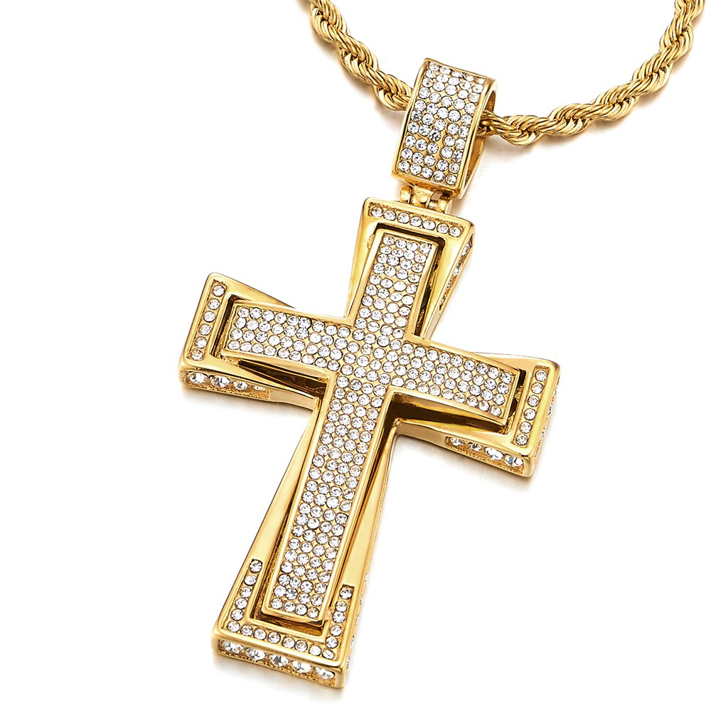 COOLSTEELANDBEYOND Mens Womens Large Gold Color Steel Cross Pendant Necklace with Cubic Zirconia, 30 inches Wheat Chain