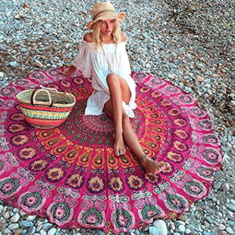 candora Beach towel-round Meditation Yoga Matte, Indian Boho Gypsy Baumwolle tablecloth-mandala rund Beach throw-hippie Hippie-style-throw Betten Tagesdecke, Gypsy, zum Aufhängen dekorativer Wandschmuck, rot