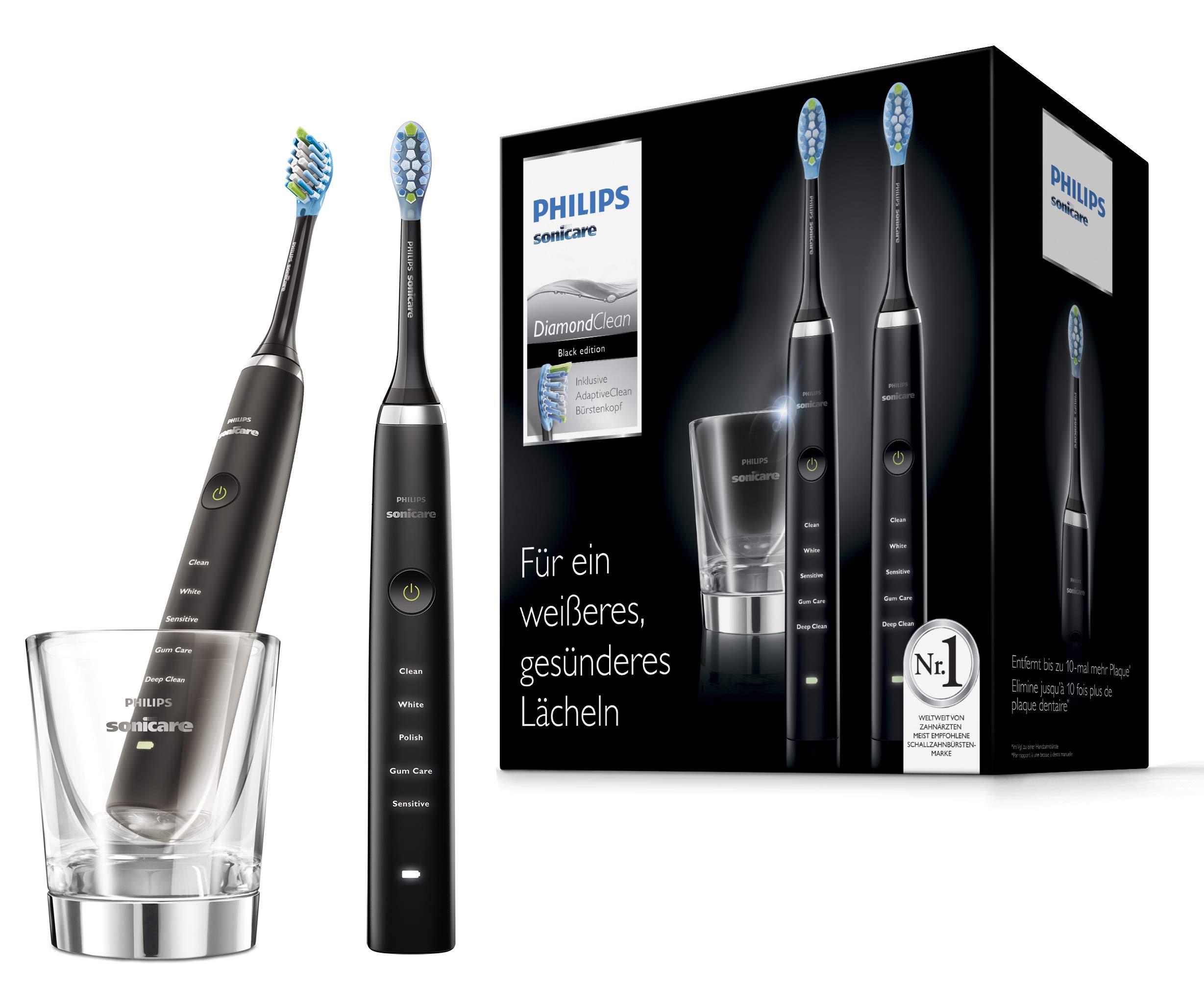 Philips Sonicare HX9357/87 DiamondClean Elektrische Zahnbürste Doppelpack, 2 Schallzahnbürsten mit 5 Putzprogrammen, Timer und Ladeglas, schwarz