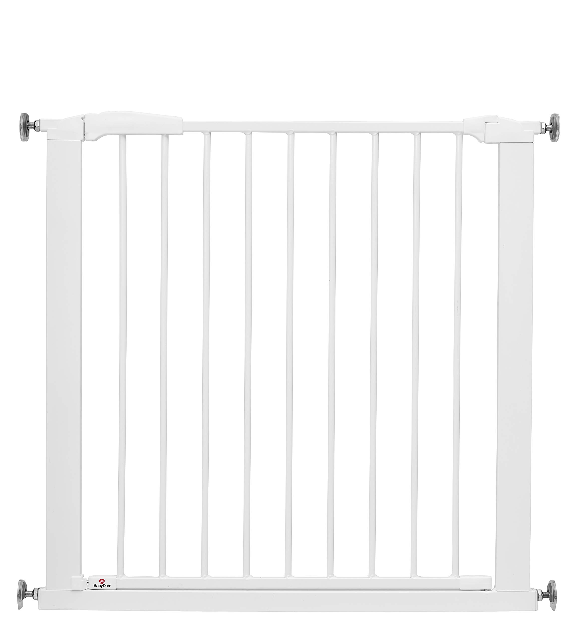 BabyDan Perfect Close Extra Wide Safety Gate - 77.3cm-83.5cm BabyDan Extra wide pressure fit safety gate. standard gate fits doorways 77.3-83.5cm. max width 110cm Features a unique slam shut or silent close handle which locks closed automatically Extendable up to 110cm with extra exetsnions 1