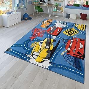 80x150 cm TT Home Tapis r/éversible pour Enfant Motif Routes et Voitures Gris