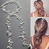 Simsly FS-144 - Cerchietto lungo per capelli da sposa, con fiore di cristallo, per spose e damigelle d'onore (argento) da 90,