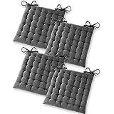 Gräfenstayn® Set de 4 Coussins d'Assise Coussins de Chaise 40x40x5cm pour intérieur et extérieur - 100% Coton - Différents Co