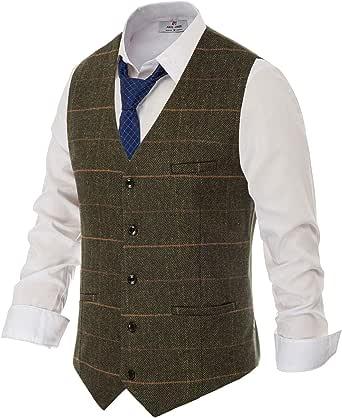 PAUL JONES Men's British Herringbone Tweed Vest Premium Wool Waistcoat, Army Green(plaid), Medium