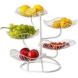 QUUY Metalowy stojak na owoce, 5 poziomów, wydrążone miseczki na owoce, ekskluzywny stojak na owoce w kształcie liścia lotosu