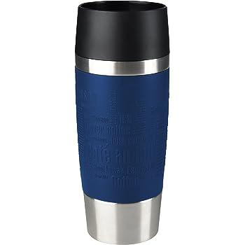 Emsa Isolierbecher Mobil genießen 360 ml Quick Press Verschluss Travel Mug -Blau (Manschette Blau)