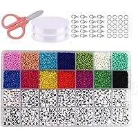 Mini Glasperlen, Buchstabenperlen, Glasperlen Set, Kinder Glasperlen, A-Z Englisch Buchstabenperlen, Fadenperlen, 3mm…