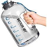 Bouteille D'eau de Sport, 1 Gallon Bouteille avec Marquage du Temps sans BPA Water Bottle avec Brosse de Nettoyage Gourde Spo