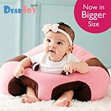 DearJoy Cotton Toddlers' Training Seat Baby Safety Sofa Dining Chair Learn to Sit Stool, 3-12 Months (Pink, DJ00122)
