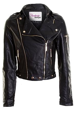 6dd8dcac21b43 New Ladies Leather Biker Black Zip PVC Bomber Jacket Women's Coat 8 10 12  14[M (10)]: Amazon.co.uk: Clothing