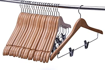 Aadya Solid Natural Finish Wooden Suit Hangers with Anti-Rust Pant Clips, (6 PCS Pack)