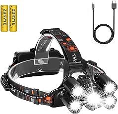 LED Stirnlampe, Zukvye Wiederaufladbare LED Kopflampe, 8000 Lumen wasserdichter Stirnlampe ,4 Helligkeits-Modi. Perfekt zum Laufen, zum Campen, zum Wandern und zum Spazierengehen