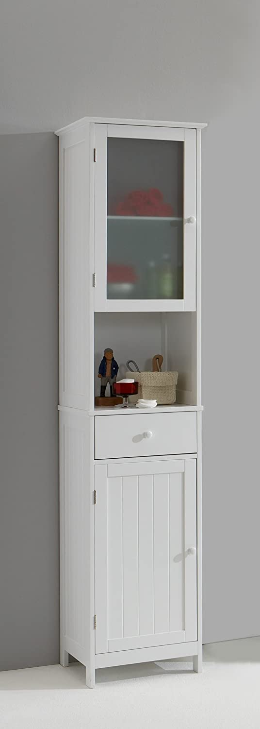 Stockholm Tall Tallboy White Bathroom Cabinet with Glass Door by ...