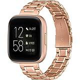 GEARYOU Kompatibel mit Fitbit Versa 2 Armband/Fitbit Versa/Versa Lite/Versa SE Armband, Schnellverschluss Edelstahl Metall Er