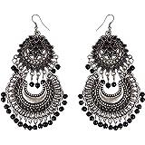 Zeneme Jewellery Afghani Tribal Oxidised Silver Bohemian Earrings for Women & Girls