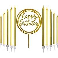 31 Pcs Classique Décoration de Gâteau d'Anniversaire Universelle-30 Longues Bougies d'Anniversaire Or-une Bannière de…