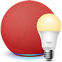 Echo (4th generation) | With premium sound | PRODUCT(RED) + TP-Link Tapo Smart Bulb (E27), Works with Alexa