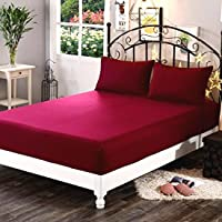 """Sleep Matic Waterproof 75""""x 72"""" (6.25 x 6) feet Cotton Fitted King Size Mattress Protector Bed Cover with Elastic Strap (Maroon)"""