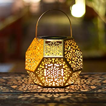 Solar Lantern Lights,Outdoor Hanging Garden Lights Gold Metal Lamp For Patio,Outside  Or Table