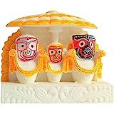Generic Stone Idol of Lord Jagannath balaram and subhadra 3 x 3 Inch Multicolour, 1 Piece