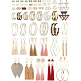 Finrezio 54 par mode färgglada örhängen set för kvinnor damer kula kristall örhängen jacka geometriska örhängen läder örhänge