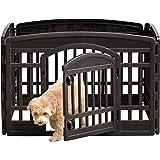 Iris Ohyama 104446 Cage d'extérieur/enclos/chenil-Pet Circle-CI-604E, Plastique, l91,5 x H60 cm, Parc Noir pour Chiot, 1 Unit