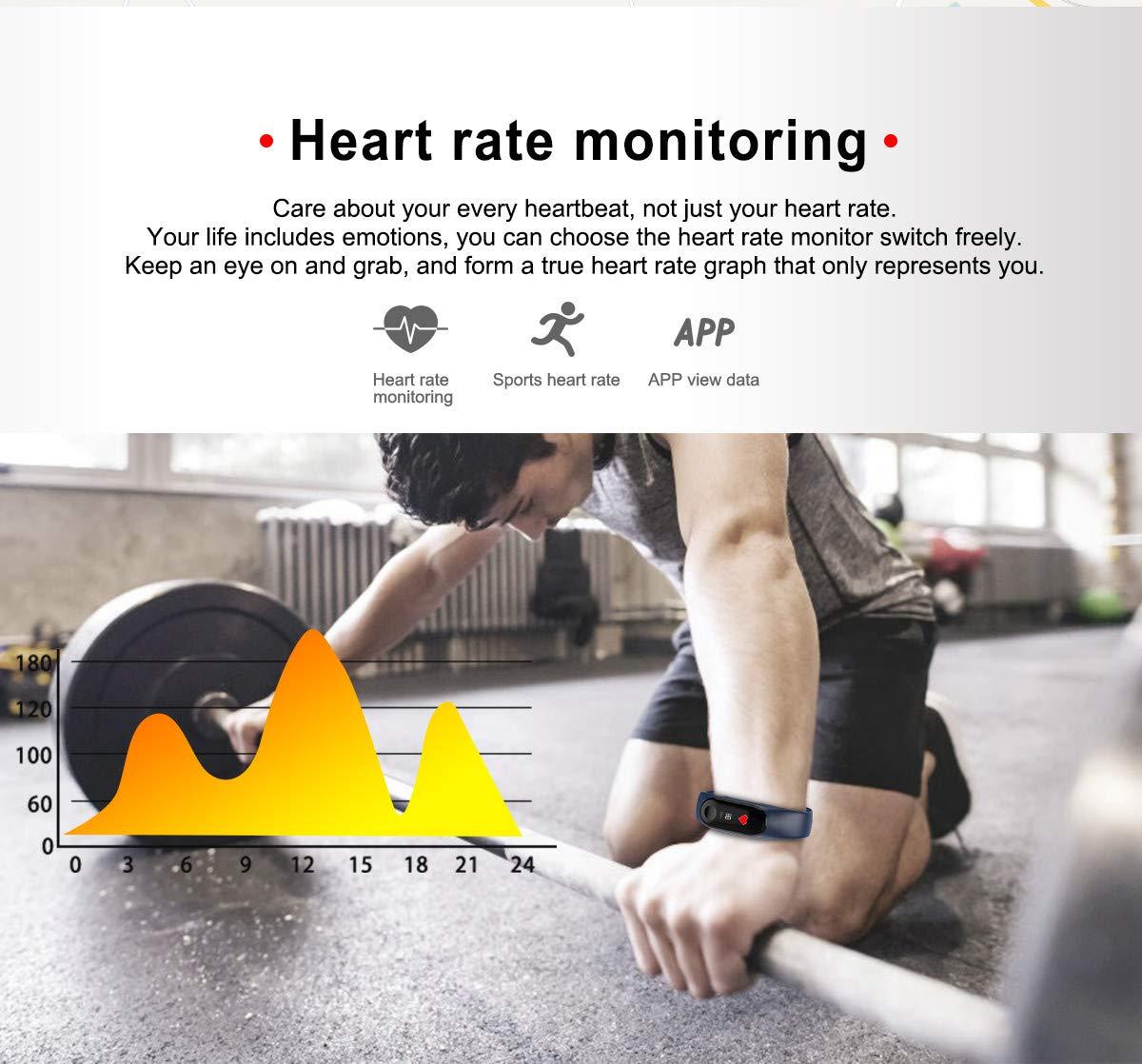 WANGLAI 1 PC Rastreador de Ejercicios, Pulsera Inteligente con Monitor de Ritmo cardíaco, Brazalete Inteligente con podómetro de Seguimiento de Actividad de sueño de Salud para teléfono Inteligente 5