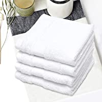 Spaces Organic White Pack of 4 Cotton Face Towel_1042356_12 inch x 12 inch