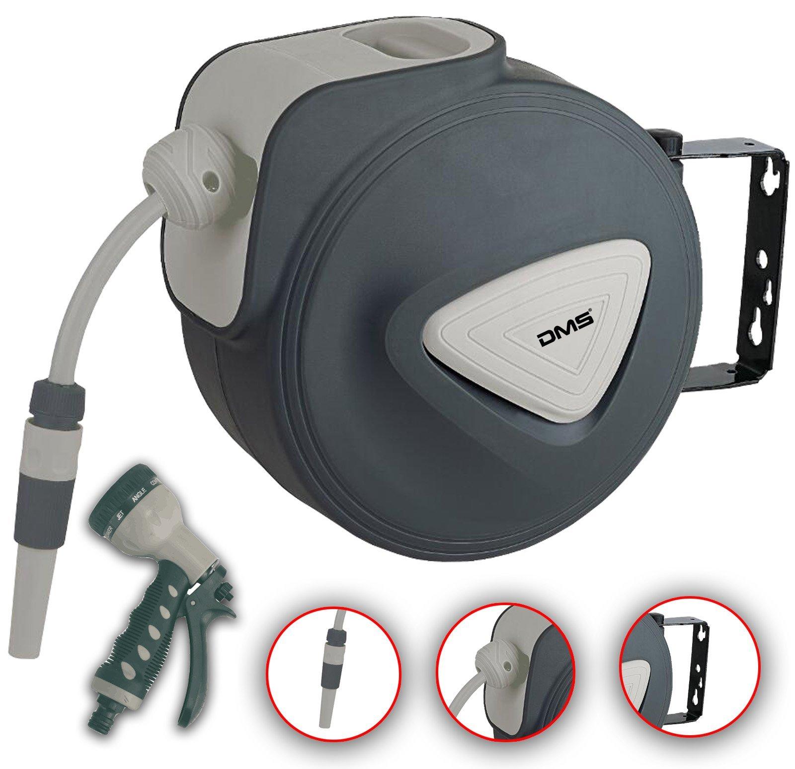 DMS Schlauchaufroller Gartenschlauchtrommel Wasserschlauchaufroller Schlauchtrommel Automatik inkl. Bewässerungsbrause…