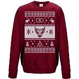 Star and Stripes Merry Christmas Sweatshirt owl, Glasses Long Sleeve Sweatshirt Jumper Funny Printed Sweatshirts, Jumpers, Sw