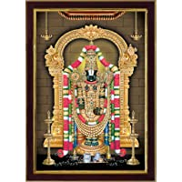 SAF Religious Lord Teerupati Balaji Sparkle Coated Digital Reprint Painting (13.25 inch x 9.25 inch) SANFR6578…