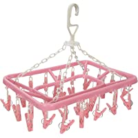 Kuber Industries 360 Degree (32 Clip) Portable Folding Clothes Drying Rack Space Saving Travel Rotatable Clips(Pink…