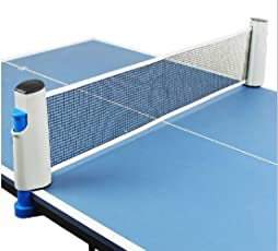 AURION Innovative Retractable Portable Table-Tennis Net with Adjustable Length and Push Clamps, H14xL2cm (Blue)