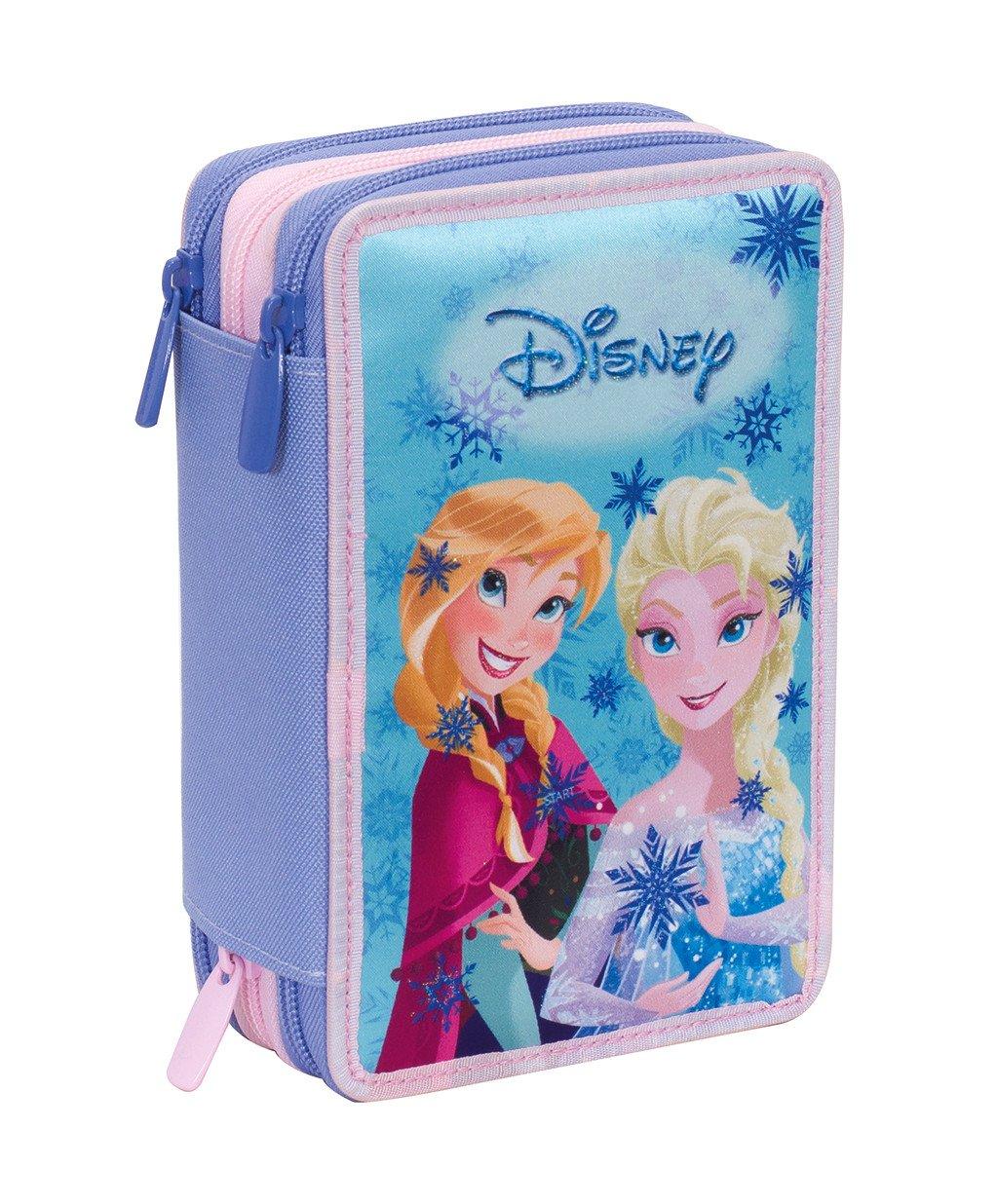 Estuche 3 Cremalleras Disney , Frozen Magic Lights , Azul , Pisos con Contenido: Lápices, Rotuladores, Boligrafos …