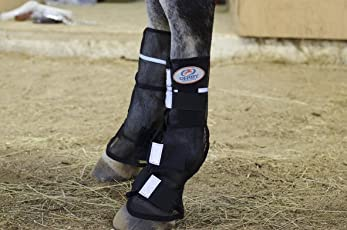 Derby New Reflective Mesh Horse Fly Boots - Pair - (Black) (Warmblood, Black)