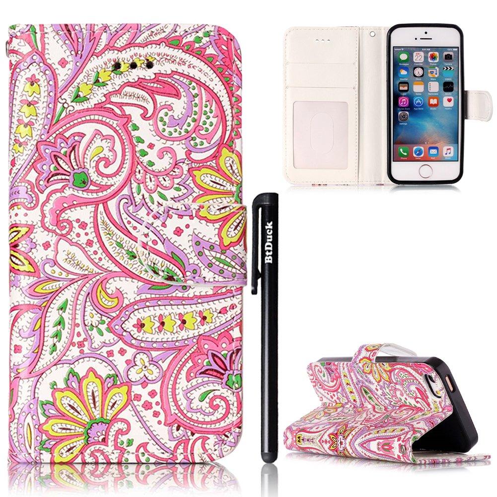 Cover per iPhone SE/5S/5 Flip Libro,BtDuck Ultra Slim PU Pelle Borsa e Portafoglio Tasca Progettato