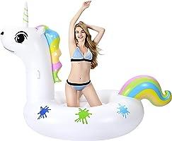 Grefay Unicornio Inflable Gigante, Piscina Flotador Balsa Cama Flotante de Verano Recreación Acuática Leisure Lounger...