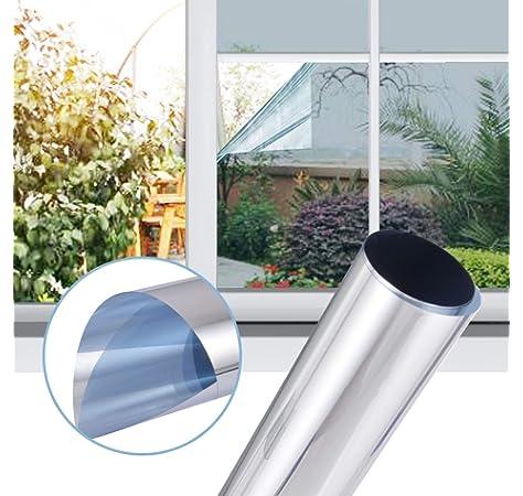 6 57 M Fenster Spiegelfolie 100 X 152cm Silber Tonungsfolie Sonnenschutz Fensterfolie Spion Folie Amazon De Kuche Haushalt
