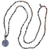 KELITCH Collares con Colgante De Buda Sakyamuni Collares con Cuentas De Plata Y Cristal Joyería De Meditación Y Yoga
