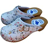 Slippers World Women's Leather Clogs - Natural Swedish Handmade Wooden Sole Sandals Easy Fit with Strap Buckle in Smooth Fini