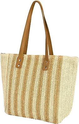 HOLEMZ Stroh Handtasche Damen Sommer Strandtasche Böhmische Vintage Handarbeit Umhängetasche für Reise Täglicher Gebrauch