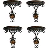 MEHTAB Ahmad HANDICRAFTS Wooden and Iron Wall Hanging shelve Bracket///Unique Shape shelve Best for Wall Decor // Black Colou