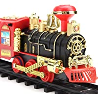 MSM Zone 2020 Updated Electric Train Toy for Boys with Smokes, Lights &Sound, Railway Kits with Steam Locomotive Engine…