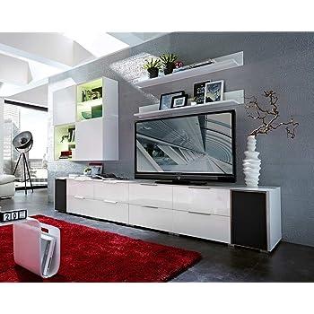 10-tlg Wohnwand in Hochglanz weiß/grau mit Akustik-Fächern und LED ...