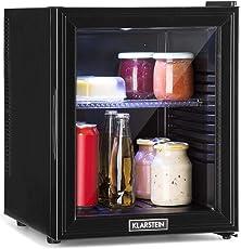 Klarstein Brooklyn 32L Kühlschrank mit Glastür • Mini-Kühlschrank • Mini-Bar • 32 L • 0 dB • 12-15 °C • Kunststoff-Einsatz • LED-Innenbeleuchtung • Glastür • für Single- und Kleinhaushalte • schwarz