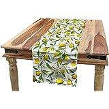 ABAKUHAUS La Nature Chemin de Table, Lemon Woody Romantique, Rectangulaire Décoratif pour Salle à Manger, 40 cm x 300 cm, Fer